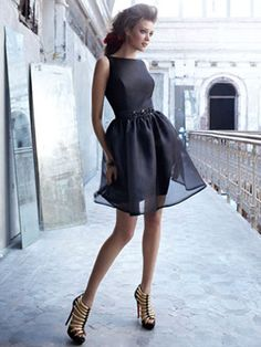 Black Sheath/Column Bateau Short/ Mini Cocktail-Length Knee Length Satin Organza $99.99 reminds me of Victoria Beckham's dress