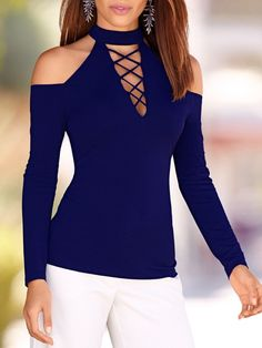 Autumn 2016 Women Blouses Sexy Lace Up Off Shoulder Blusas Long Sleeve Shirts Hollow Out Casual Slim Solid Tops Plus Size M-XL Laced Up Shirt, Long Blouse, Sexy Blouse, Casual Tops, Casual Wear, Shirt Blouses, Blouses 2017, Dress Shirts, Dress Pants