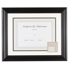 """Gallery Solutions 11""""x14"""" Certificate Frame - Black"""