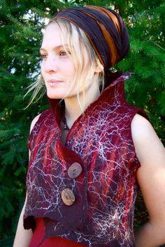 autumnal pixie handmade nuno felt cropped collared vest/ waistcoat. $120,00, via Etsy.