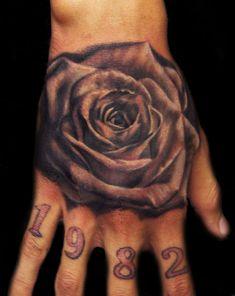 Male Tattoo Ideas Black Rose On Hand