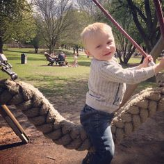 It's a lovely day today doo dah doo dah day! #park #parklife #nature #spring #green #trees #happy #fun #toddler #toddlerlife #swing #family #lovelyday
