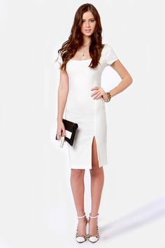 Needs to have a straighter fit at the bottom for more conservative offices, but ....Leading Lady White Midi Dress
