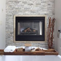 Fireplace tile - Claros Silver Architectural Travertine Wall Tile 6 x 24 in Ikea Fireplace, Cottage Fireplace, Simple Fireplace, Fireplace Seating, Fireplace Bookshelves, Double Sided Fireplace, Fireplace Built Ins, Shiplap Fireplace, Rustic Fireplaces