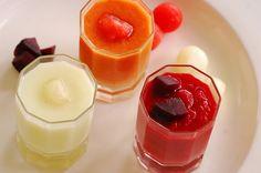 Gazpacho de sandía, sopa de melón y salmorejo de remolacha. | Cuchillito y Tenedor