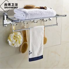 138.98$  Buy here - http://aliu3a.worldwells.pw/go.php?t=32589204525 - Chrome Stainless Steel Towel Holder can 90 Degree Rotation Folding Bathroom Towel Bars Bathroom Accessories GJ-7302L