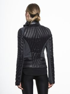 Motion Panel Puffer Jacket in Black by Blanc Noir from Carbon38