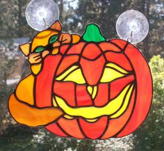 Stained Glass Halloween Pumpkin With Cat Suncatcher by Conijash, $52.25