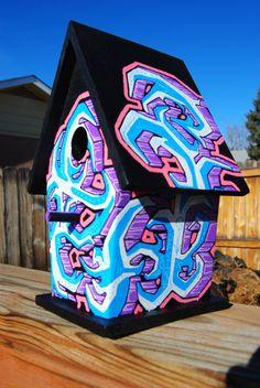 graffiti bird house