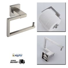 Stainless Steel Toilet Paper Holder Storage Rustproof Brushed Finish A2470-2 #Kes