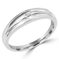 1/10 CT Round Cut Mens Diamond Wedding Band Ring in 14K White Gold, $299.00 #wedding #marriage #ring #mensfashion | Majesty Diamonds