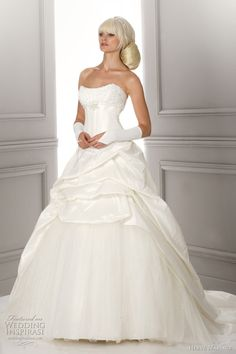 Lord taffeta ball gown with beaded bodice and gathered skirt.