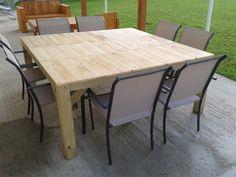 voila ma table fini a vernir et voila enfin presque fini see more jardinire en bois de palette recycle - Table De Jardin En Palette De Bois