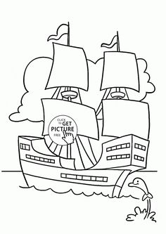Ship And Little Dolphin Coloring Page For Kids Transportation Pages Printables Free