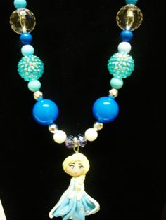 Elsa from frozen chunky beaded necklace by crystalnruby on Etsy, $15.00
