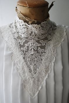 Victorian style vintage 80s crisp white polyester blouse by VezaVe, $32.00