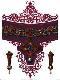 Modèle de #collier déssiné au 16e siècle par le #peintre ornemaniste de la cour de Bavière Hans Mielich pour l'épouse d'Abert V de Bavière, Anne d'Autriche #parure #bijou #luxe #numelyo #couleur #color #violet