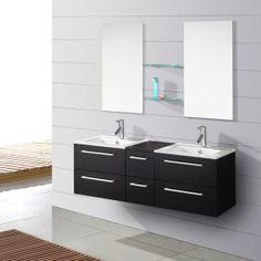 Salle de bain complète double vasque Wengué OCELIA - Maison Facile : ww.maison-facile.com