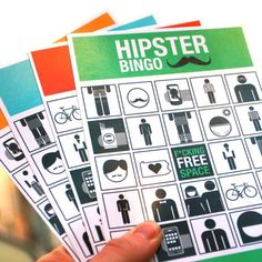 Hipster Bingo, not made from real Hipsters - then they'd have to admit they were hipsters. $8 Hipster Bingo on Etsy