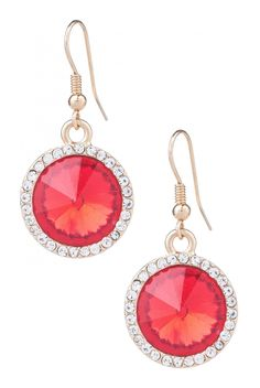 A little dangle and a lot of shine. These earrings add a splash of fun to your look with their sparkling cherry colored center circled in glittering rhinestones for just a pop of color that sings with your every movement. My