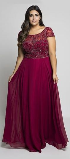 Burgundy Plus Size Prom Dresses Sheer Jewel Neck Chiffon Backless Evening Gowns A-Line Floor Length Long Beaded Formal Dress Plus Size Gowns, Plus Size Prom Dresses, Plus Size Outfits, Formal Dresses, Backless Evening Gowns, Evening Dresses, Plus Size Fashion For Women, Groom Dress, Sheer Dress