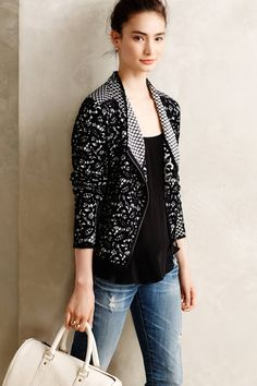 Jacquard Moto Cardi - black and white geometric and lace pattern side zip jacket - beautiful patterned knitwear and jackets from Anthropologie this season | via Anthropologie
