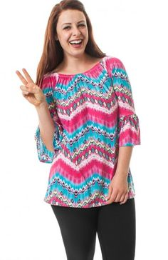 Elastic neckline 3/4 flyaway sleeve geometric detail tie dye print top. Psychadelic top to stay boho all year long.  $100.50