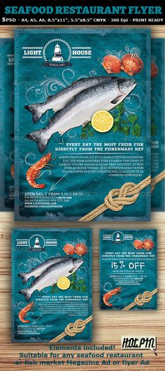 """Seafood Restaurant Magazine Ad or Flyer Template and coupon is a modern and attractive psd template design suitable for any seafood restaurant, bar or Fish market. 5 PSD files – 5 sizes (A4, A5, A6 and 8.5""""x11"""", 5.5""""x8.5"""") including bleeds and guides CMYK – Print ready – 300 DPI Easy named layers for better editing"""