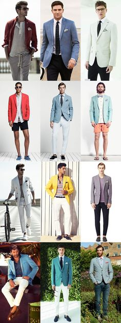 Men's fashion. Love the colored blazers but not digging the blazers with the shorts even though it is on trend.