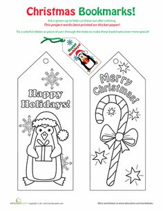 Worksheets: Christmas Bookmarks