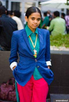 Love this color mix - Tania, Mumbai | 30 Incredibly Chic Street-Style Photos From India