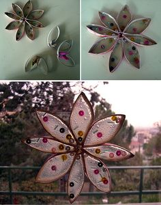 stained glass effect with toilet paper tubes, Mod Podge or other craft glue that dries clear & sequins, beads, glitter