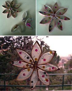 """cardboard tube & """"glue resin"""" stars"""