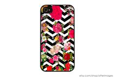 Floral Black and White Chevron Stripes iPhone 5 4 4S Case iPhone 4 Cute Kawaii Rose Vintage Grunge Silicone iPhone 5