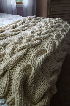 Extra thick and warm, knit your own Chunky Cable Knit Blanket today!