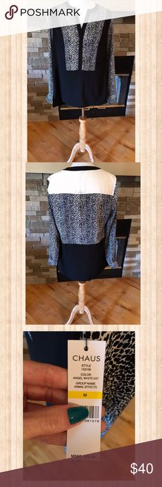 Black and White Cheetah Print Chiffon Top Black and white chiffon top with cheetah print design.  Has option to be a 3/4 sleeve with button detail.  Has a slight slit at each side of hip for a nice fit.  Gorgeous on! Chaus Tops Blouses
