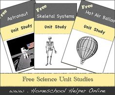 free unit studies in all areas including preschool, literature, science, art and more from Homeschool Helper Online