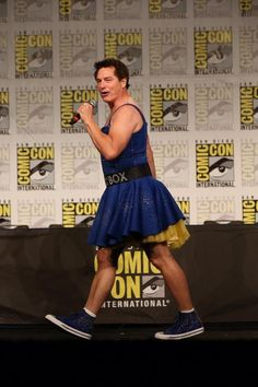 """John Barrowman came on stage in a bedazzled blue spaghetti-strap TARDIS dress and matching Converse shoes, announcing, """"I am the transgender TARDIS! Tardis Dress, Doctor Who Companions, Captain Jack Harkness, 13th Doctor, John Barrowman, Female Doctor, Don't Blink, Torchwood, Dr Who"""