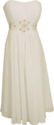 Reception dress Amazon.com: Strapless Chiffon Goddess Gown Prom Dress Formal Knee-Length Junior Plus Size: Clothing