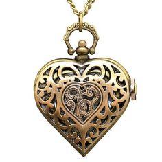 Heart Locket Clock Necklace