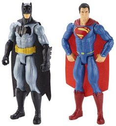 Battle it out on ttpm.com between two superheroes with the Batman v Superman Batman & Superman action figure two-pack. This comes with two deluxe 12-inch action figures of Batman and Superman featuring movie-realistic details