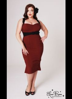 The Jessica Wiggle Dress in Burgundy with Black Trim by Pinup Couture - Plus Sizes