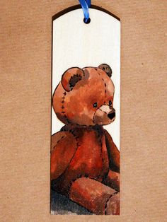 Unique Wood bookmark. Teddy bear sleeping kitty by FennekArtDesign