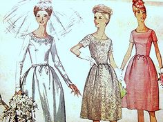 1960s Vintage Wedding Dress Pattern Misses size 14 UNCUT Bridal Gown with Detachable Train and Bridesmaid Dress by PatternsFromThePast