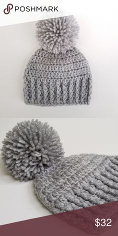 ce6735ed765 Pompom Baby Boy Crochet Hat Newborn - 12 M Gray This pompom baby boy  crochet hat is soft and squishy texture. Made from very soft yarn. - Brand  new!