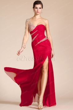 2014 New Red Sweetheart Beaded Sleeve High Split Formal Dress/Bridesmaid Dress