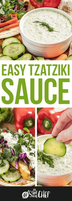 Easy Tzatziki sauce is light, creamy, and full of bright flavors, making it a versatile sauce. You can use it as a dipping sauce for breads or vegetables, on gyros, or as a condiment. You'll be amazed at how quickly this recipe comes together. Authentic Tzatziki Sauce Recipe, Homemade Tzatziki Sauce, Gyro Sauce Recipe Easy, Tzatziki Sauce Recipe Easy, Sauce Recipes, Cooking Recipes, Healthy Recipes, Clean Eating, Healthy Eating