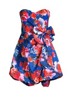 Parker Black Chantelle Floral-print Bow Dress In Lennox Rose Parker Black, Dress With Bow, World Of Fashion, Fit And Flare, Dress Outfits, Strapless Dress, Floral Prints, Bows, Summer Dresses