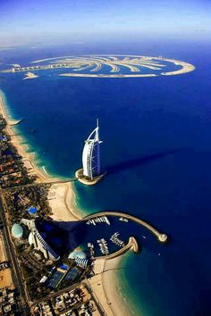 Burj Al Arab and Jumeirah Palm  #dubai #uae #travel #places #popular #buildings #beauty #repin