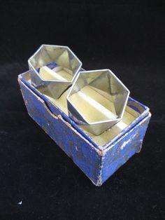 Pair Vintage Boxed My Lady Pewter Art Deco Napkin Rings c1930, George Lee & Co.